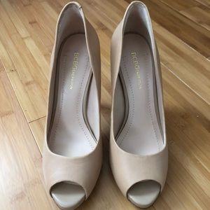 New BCBG real leather peep toe nude Heels - sz 7